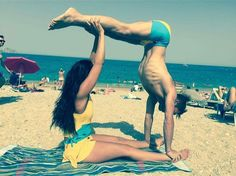 UK Wink agent Becky Hampson yoga training on the beach wearing Wink Drawstring Vest and Dance Skort with partner in matching Men's Side Panel Dance Shorts in bespoke yellow/turwuoise by Wink Uniq Yoga Wear, Gym Wear, Dance Wear, Beach Wearing, Pole Dancing Clothes, Dance Shorts, Aerial Arts, Summer Prints, Funky Fashion