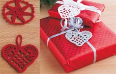 Crochet Christmas Decorations - Home DK Crochet Christmas Decorations, Christmas Ornament Crafts, Holiday Crochet, Christmas Gift Wrapping, Christmas Knitting, Christmas Crafts For Kids, Crochet Home, Christmas Diy, Xmas