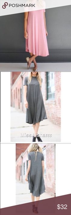 gorgeous  coral midi swing dress Loose fit swing style coral midi dress PLEASE Use the Poshmark new option you can purchase and it will give you the option to pick the size you want ( all sizes are available) BUNDLE and save 10% ( no trades price is firm unless bundled) Dresses Midi