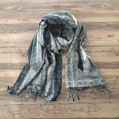 Printed scarf Like new black and grey printed scarf! Anthropologie Accessories Scarves & Wraps