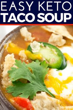 Easy crockpot or stovetop low carb keto taco soup with cream cheese & ground beef. Simple and delicious keto crockpot recipe Low Carb Taco Soup, Low Carb Tacos, Keto Taco, Keto Soup, Best Crockpot Recipes, Pot Roast Recipes, Soup Recipes, Keto Recipes, Clean Eating Recipes