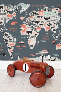 Decorating your kid's bedroom? This charming world map mural features native animals and famous landmarks. All set against a striking colour palette that brings added visual interest.