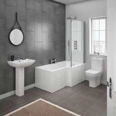 Milan Contemporary Bathroom Suite With L Shaped Shower Bath   8 Contemporary Bathroom Ideas