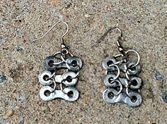 Love these earrings made from bike chain!