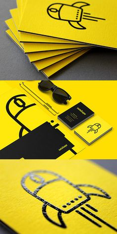 Bold Black And Yellow Business Card Design For A Web Designer