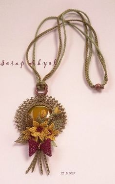 This Pin was discovered by Lal Handmade Rakhi, Point Lace, Jewelry Model, Lace Making, Crochet Flowers, Hand Embroidery, Crochet Necklace, Jewelry Necklaces, Pendant Necklace