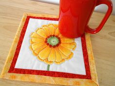 Yellow Daisy Mug Rug   Moda Fabric  Large Coaster  by SEWFUNQUILTS, $8.00