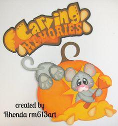 Halloween Mice Carving paper piecing  die cut for premade scrapbook page Rhonda