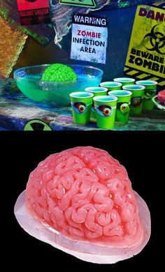 Zombie Punch.  Take your favourite punch recipe, freeze some of the punch in the Zombie Brain Mold, and let the zombie ice brain float & melt in the punch bowl. The ZomBeatles -- A Hard Day's Night of the Living Dead! Halloween Party Decorations & Ideas