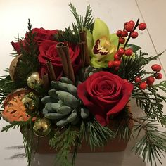 A masculine Holiday Texture Box with roses, Cymbidium orchids, succulents, Ilex, cedar, fir and Princess Pine, accented with dried Quince slices, Cinnamon sticks and glass balls.
