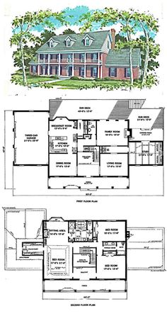 Colonial Style House Plan Number 72158 With 4 Bed 4 Bath 4 Car
