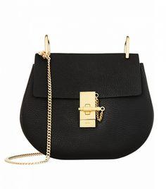 Chloé Drew Medium Textured-Leather Shoulder Bag // Black bag