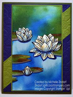 Hand stamped Lovely Lily Pad – Stampin' Up! Card created by Michelle Zindorf Stamp Pad Ink, Stamping Up Cards, Watercolor Cards, Flower Cards, Blank Cards, Greeting Cards Handmade, Lily Pad, Homemade Cards, Making Ideas