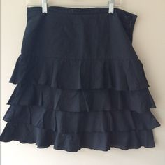 Anthropologie Odille Ruffle Skirt Cute, gently used 100% cotton skirt. Very comfortable and flattering. NO TRADES. Reasonable offers considered. Anthropologie Skirts