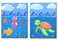Under the Sea print and Turtle print Set of 2 by shannonolson, $25.00