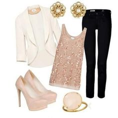 Pink & white outfit with Black skinny jeans.