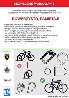 Bezpieczne parkowanie roweru! / Safe bike parking! #rower #edukacja #ulotka #infografika #bike #education #leaflet #infographic