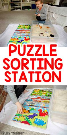 activity station sorting toddler puzzle Puzzle Sorting Station Toddler ActivityYou can find Toddler games and more on our website Activities For 2 Year Olds, Gross Motor Activities, Toddler Learning Activities, Preschool Activities, Puzzles For Toddlers, Games For Toddlers, Toddler Puzzles, Toddler Play, Toddler Preschool