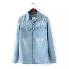 LT327 Fashion Ladies' Elegant classic blue denim long blouses vintage long sleeve pockets shirts casual slim brand tops
