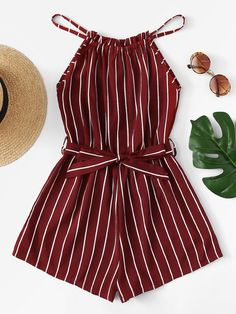 Tie Waist Striped Halter Romper - femme tendance femme tendance - Jumpsuits and Romper Teenage Outfits, Teen Fashion Outfits, Mode Outfits, Outfits For Teens, Dress Outfits, Emo Fashion, Dress Shoes, Shoes Heels, Cute Casual Outfits