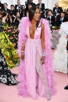 Naomi Campbell More was more, and the guests did not hold back, emboldened by the evening's chameleon-like co-chairs Lady Gaga and Harry Styles, both of whom offered up extreme versions of their already full-on personal style. Naomi Campbell, Celebrity Red Carpet, Celebrity Dresses, Celebrity Style, Susan Sontag, Anna Wintour, Christian Siriano, Pink Gowns, Pink Dress