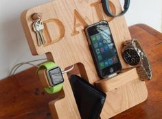 Personalized Phone and Apple Watch Docking Station - Groomsmen Gift; Men's Birthday, Father's Day, Anniversary Gift