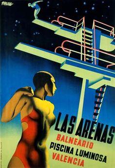 """Las Arenas"" - Spanish poster for a night-lit pool (piscina luminosa) - 1932 - artist Josep Renau-Montoro. Retro Poster, Poster Ads, Advertising Poster, Poster Prints, Art Deco Posters, Cool Posters, Modern Posters, Graphic Posters, Piscina Spa"