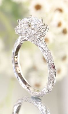 Ritani solitaire diamond six-prong knife-edge engagement ring in white gold with round cut I www.theknot.com/…