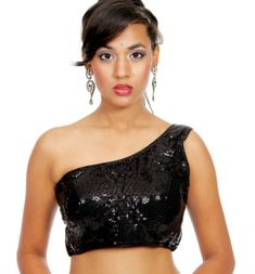 Beautiful Black Sequin Sleeveless One Sided Off Shoulder Blouse Indian Designer Outfits, Crop Blouse, Black Sequins, Blouse Designs, Off Shoulder Blouse, Booty, Formal Dresses, Beautiful, Fashion