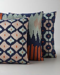 Bali Ikat Embroidered Pillows