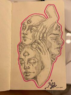 Cool Art Drawings, Art Drawings Sketches, Sketch Art, Drawing Art, Art Journal Inspiration, Art Inspo, Arte Grunge, Arte Sketchbook, Sketchbook Ideas