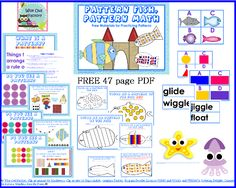 Free Pattern Fish, Pattern Math 47 Page PDF, always free, pre k and up through first Ocean Activities, Toddler Activities, Learning Activities, Fun Learning, Teaching Kids, Math Classroom, Maths, Classroom Ideas, Math Patterns