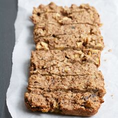 Toasted Oatmeal & Apple Breakfast Bars Recipe Breakfast and Brunch with old-fashioned oats, whole wheat flour, baking powder, ground cinnamon, salt, sunflower seed butter, safflower oil, light brown sugar, large eggs, unsweetened vanilla almond milk, vanilla extract, apples, walnuts