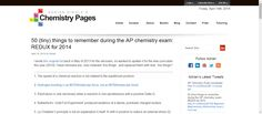 50 (tiny) things to remember during the AP chemistry exam: REDUX for 2014