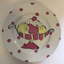 Rosanna Ceramic Dessert Serving Plates Decorative Ice Cream Art Design Set Of 4