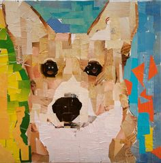 "Corgi. collage on canvas 2014. 20 x 20"" mydogcollage.com"