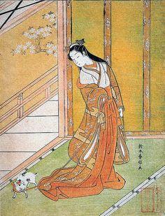 Suzuki Harunobu (1725-1770) - La troisième princesse - Illustration du Dit du Genji, XIe siècle, (源氏物語, Genji Monogatari) de Murasaki Shikibu
