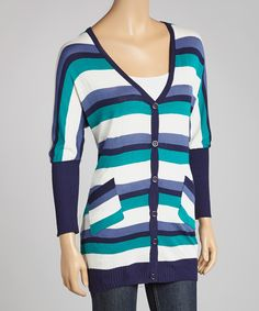 Navy & White Stripe Pocket V-Neck Cardigan | Daily deals for moms, babies and kids