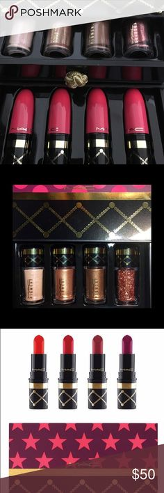 MAC NUTCRACKER LIMITED EDITION BUNDLE Mac nutcracker limited edition set of pigments and lipsticks all never used just swatched. Got them as a gift and not my colors at all MAC Cosmetics Makeup Lipstick