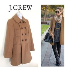 J Crew Wool Coat Beautiful double breasted and super soft 100% wool coat by J. Crew. Well appointed, fully lined and a pretty Camel color that goes with everything. EC like New!  J. Crew Jackets & Coats