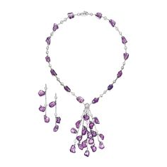 Platinum, Colored Sapphire and Diamond Necklace and Earrings, David Morris