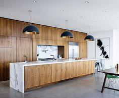 wood & marble kitchen, modern desert home, black pendant lights