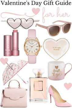 Valentine's Day Gift Ideas For Her, Pink Gifts, Coco Chanel perfume, flamingo umbrella, scalloped purse, Louboutin Pigalle Follies