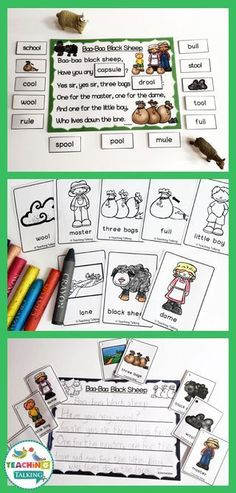 Baa Baa Black Sheep Rhyming Activity Pack – Use this speech therapy and ELA pack with your preschool, Kindergarten, … Pre K Activities, Sequencing Activities, Speech Therapy Activities, Language Activities, Sheep Nursery, Nursery Rhymes, Preschool Projects, Preschool Kindergarten, Baa Baa Black Sheep