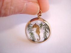 Seahorse  Gold Tone Jewelry Glass Pendant by sanibelsands on Etsy,