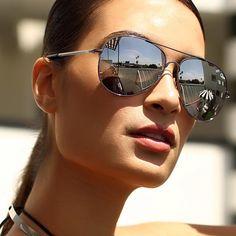 Quay Australia Flagship Aviator Sunglasses in Gunmetal/Silver