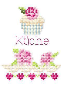 Kreuzstich mit der Stickmaschine Machine embroidered cross stitch - pattern available for purchase.