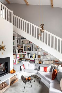 White bookshelf under staircase Home Office, Deep Couch, Cozy Sofa, Stair Storage, Dining Nook, Under Stairs, Deco Design, French Farmhouse, Living Area