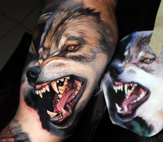 Wolf tattoo by Dave Paulo