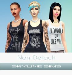 Skyline Sims: Three new non-default tank-tops - Sims 4 Downloads